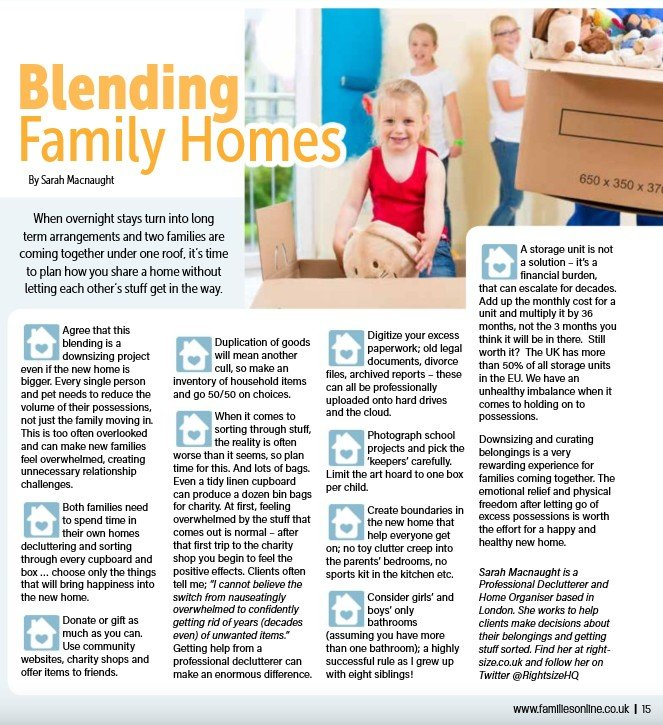 Families Magazine article by Sarah MacNaught of Right-Sise.co.uk